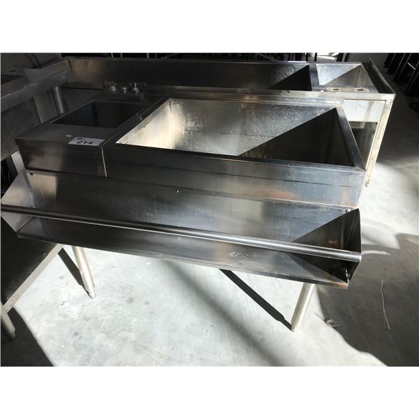 """UNDER COUNTER ICE WELLS 42""""W X 30""""D X 31""""H WITH SINKS, HAS STAINLESS STEEL SPEED RAIL ATTACHED"""