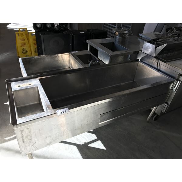 """UNDER COUNTER ICE WELLS  72""""W X 26""""D X 31""""H WITH SINKS"""