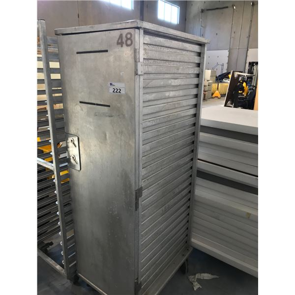 ALUMINUM FULL SIZE ENCLOSED PAN RACK HOLDS UP TO 20 FULL SIZE 18 X 26 OR 40 HALF SIZE 13 X 18 SHEET