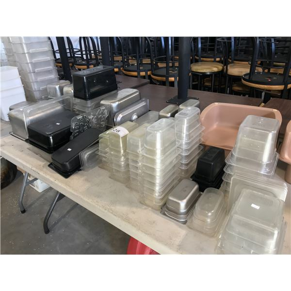 LOT OF STAINLESS STEEL AND PLASTIC FOOD CONTAINERS