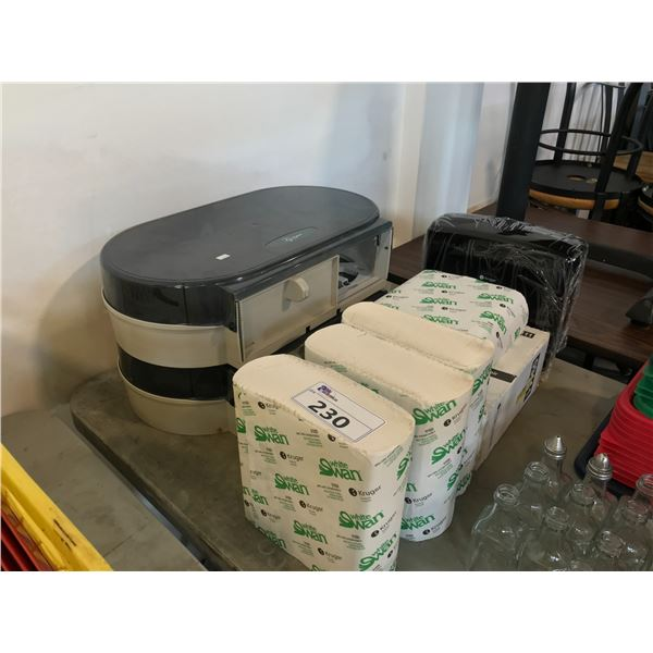LOT OF RESTROOM DISPENSERS AND PRODUCT