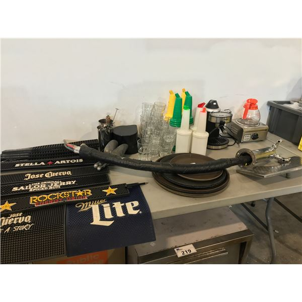 LOT OF BAR SUPPLIES INCLUDING MATS,  TAP DISPENSER, AND MORE