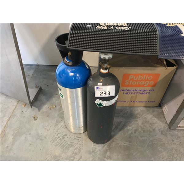 2 20LB STAINLESS STEEL AND ALUMINUM CO TANKS