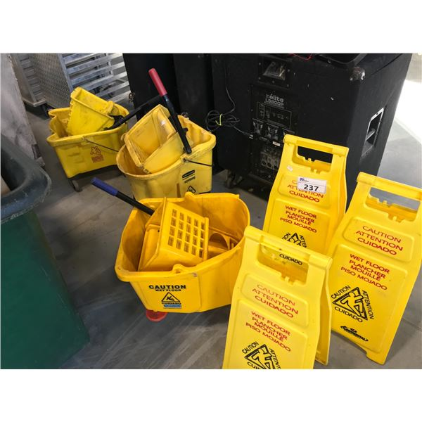 3 COMMERCIAL YELLOW MOP STATIONS AND CAUTION SIGNS