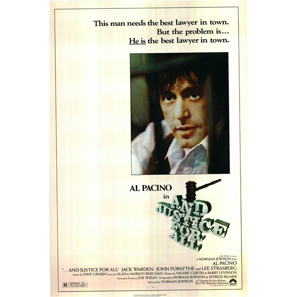 And Justice For All 1979 original vintage one sheet poster