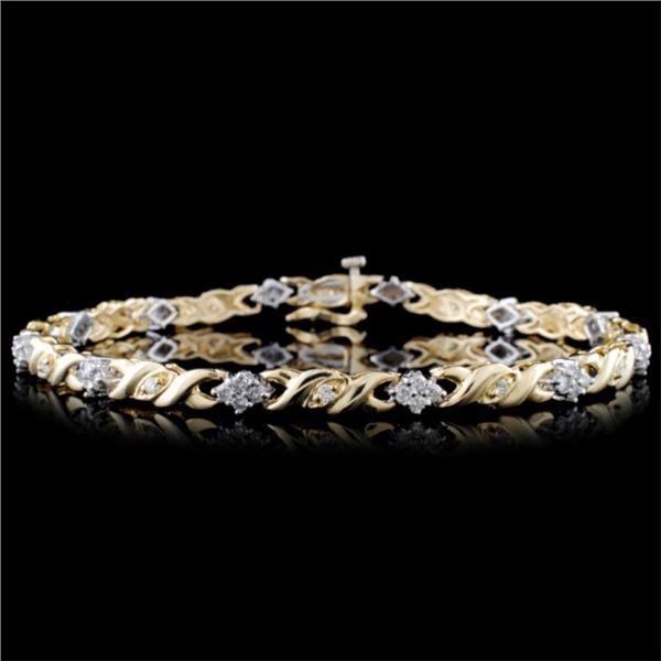14K Two-Tone 1.00ctw Diamond Bracelet