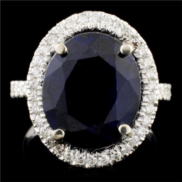 14K Gold 8.47ct Sapphire & 0.69ctw Diamond Ring