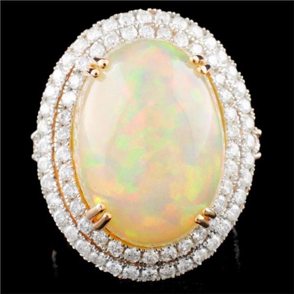 14K Gold 15.38ct Opal & 1.91ctw Diamond Ring