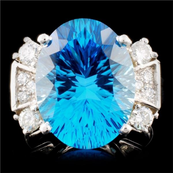 14K Gold 10.90ct Topaz & 0.50ctw Diamond Ring