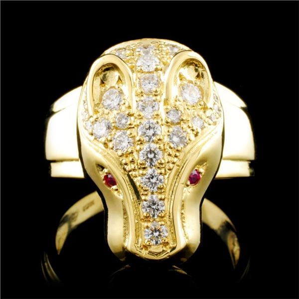18K Gold 0.05ct Ruby & 1.00ctw Diamond Ring