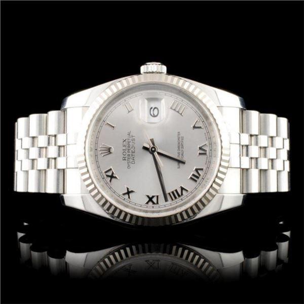 Rolex 18K & SS DateJust 116234 Rodium Roman Super