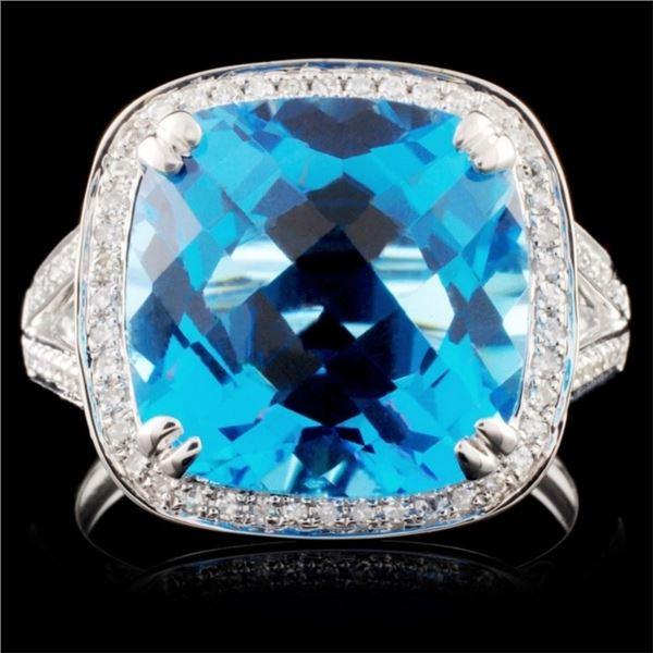 18K Gold 8.74ct Topaz & 0.25ctw Diamond Ring
