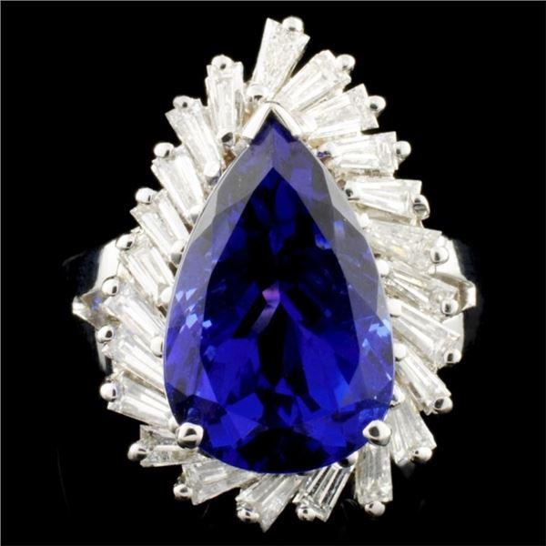 18K Gold 7.45ct Tanzanite & 1.31ctw Diamond Ring