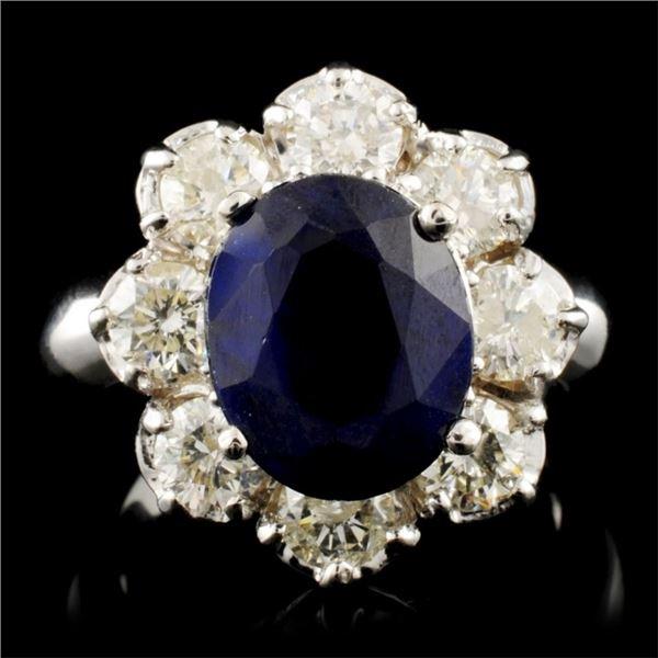 14K Gold 4.32ct Sapphire & 2.05ctw Diamond Ring