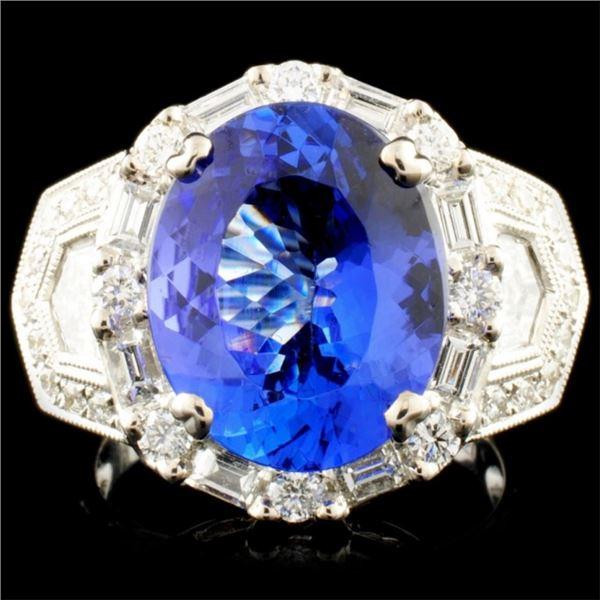 18K Gold 6.42ct Tanzanite & 1.66ctw Diamond Ring