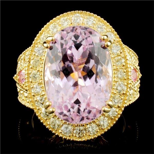 14K Gold 13.84ct Kunzite & 1.72ctw Diamond Ring