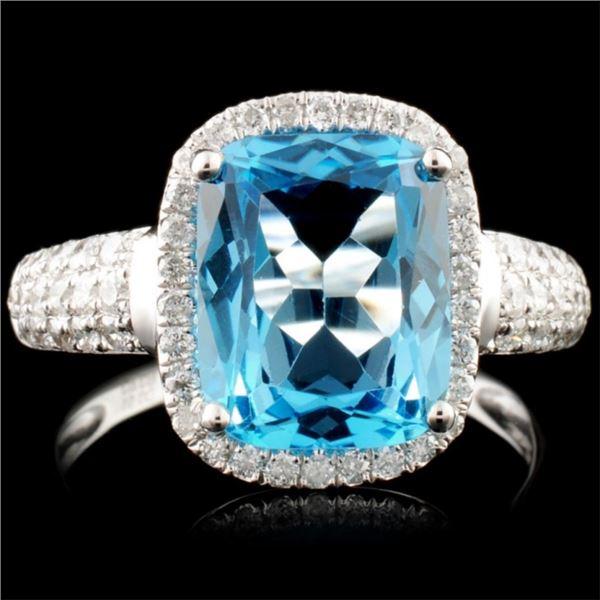 14K Gold 3.58ct Topaz & 0.51ctw Diamond Ring