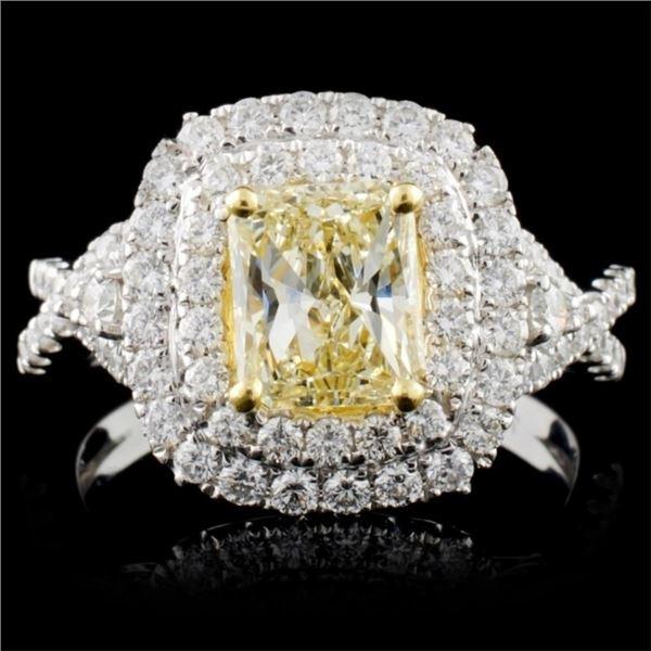 18K White Gold 2.20ctw Fancy Color Diamond Ring