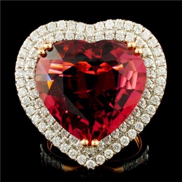 18K Gold 16.47ct Rubellite & 1.76ctw Diamond Ring