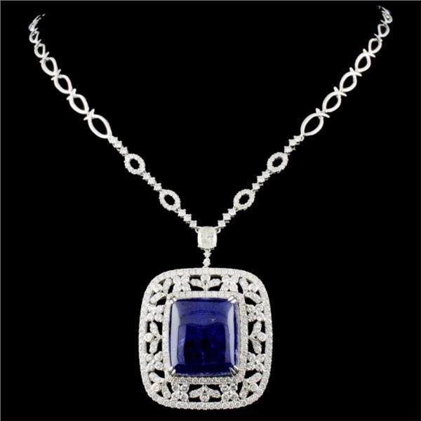 14K Gold 56.89ct Tanzanite & 6.29ctw Diamond Neckl