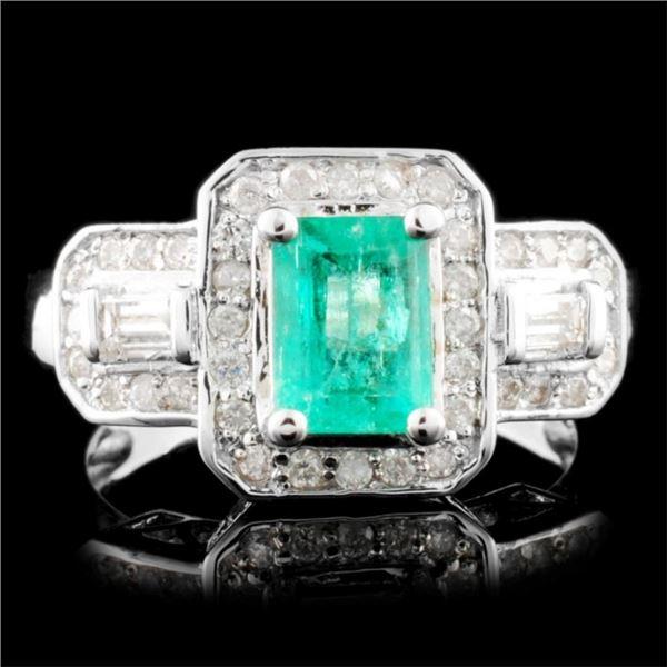 14K Gold 0.90ct Emerald & 0.57ctw Diamond Ring