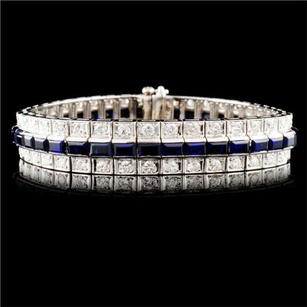 14K Gold 6.05ctw Sapphire & 2.25ctw Diamond Bracel