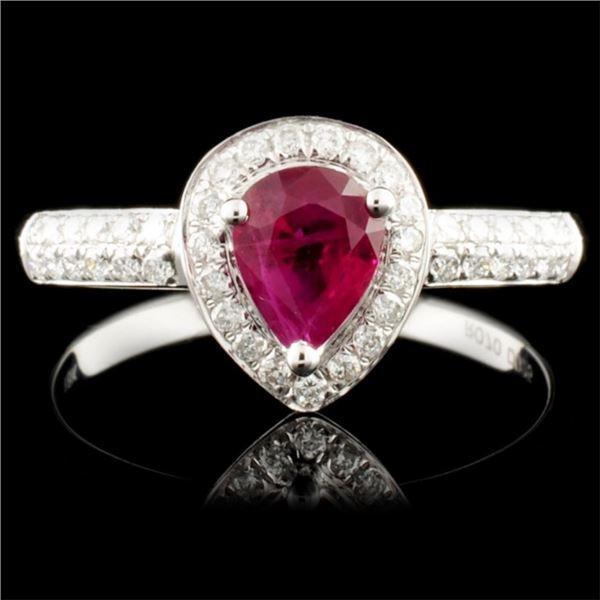 18K Gold 0.70ct Ruby & 0.25ctw Diamond Ring