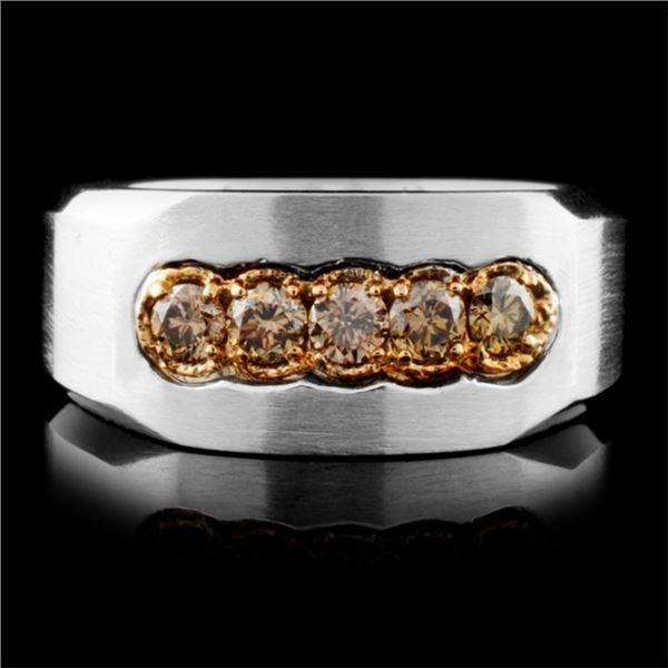 14K White Gold 0.61ct Fancy Color Diamond Ring