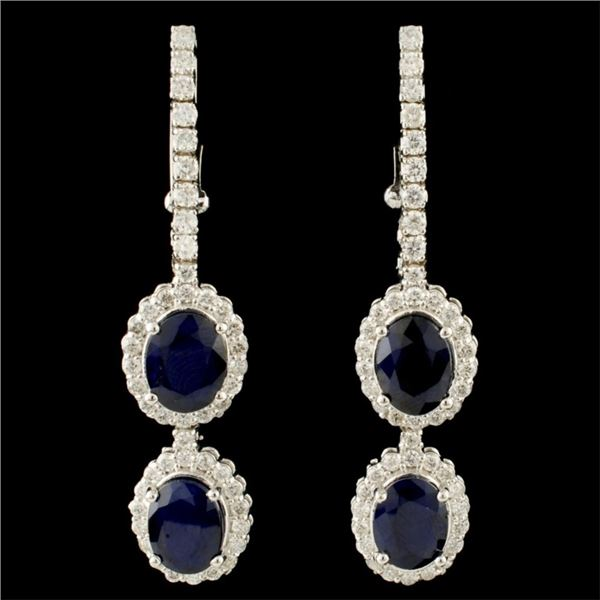 14K Gold 17.00ct Sapphire & 1.51ctw Diamond Earrin