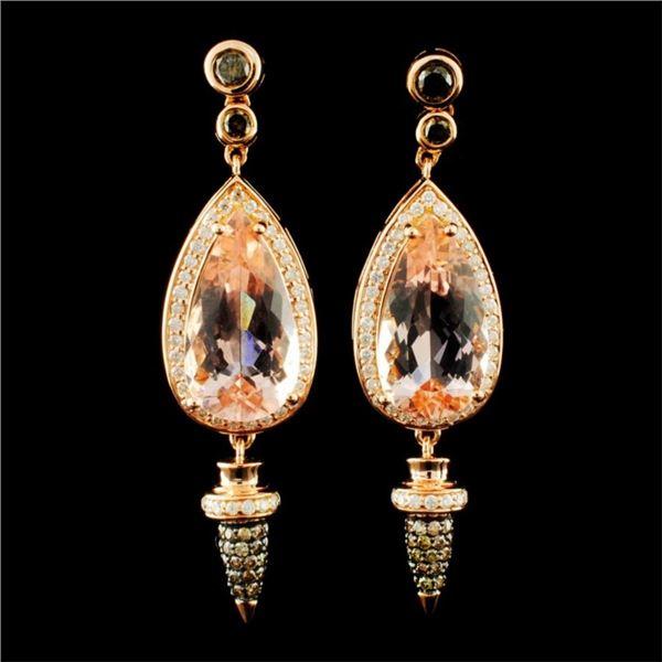 18K Gold 6.74ct Morganite & 1.16ctw Diamond Earrin