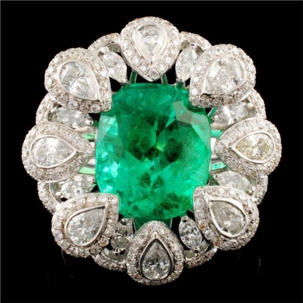 18K Gold 4.83ct Emerald & 2.02ctw Diamond Ring