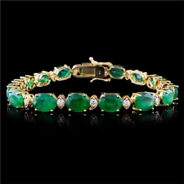 14K Gold 30.00ct Emerald & 1.50ct Diamond Bracelet