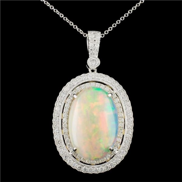 18K Gold 7.94ct Opal & 1.18ctw Diamond Pendant