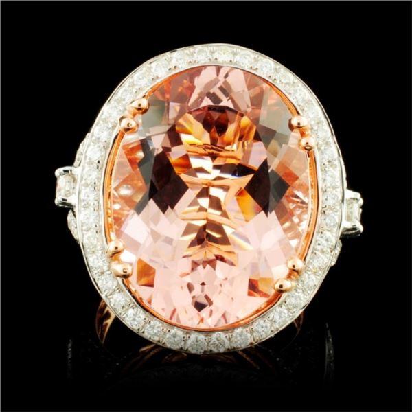 14K Gold 13.63ct Morganite & 1.55ctw Diamond Ring