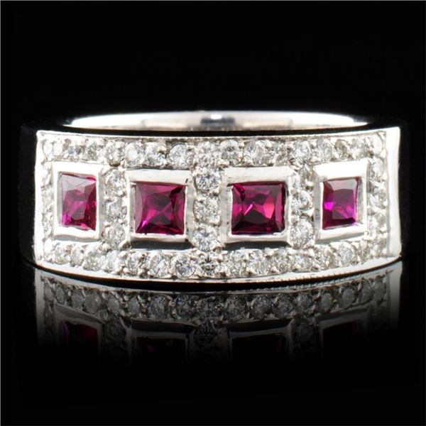 14K Gold 0.59ct Ruby & 0.62ctw Diamond Ring