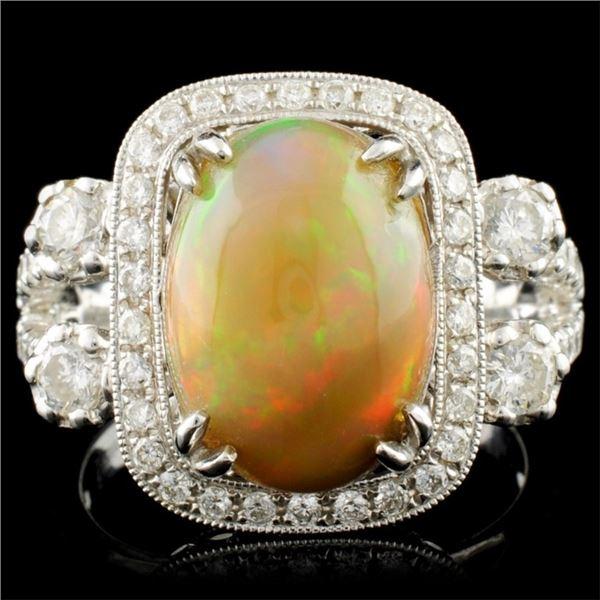 14K Gold 3.18ct Opal & 1.08ctw Diamond Ring