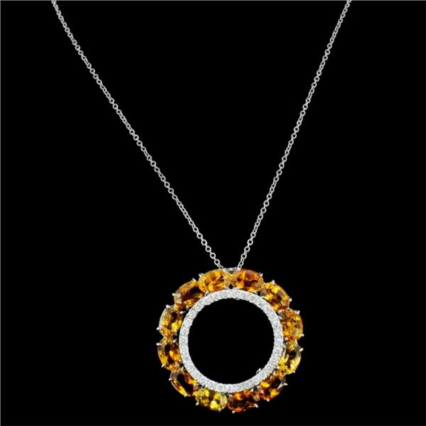 14K Gold 6.00ct Sapphire & 0.45ctw Diamond Pendant