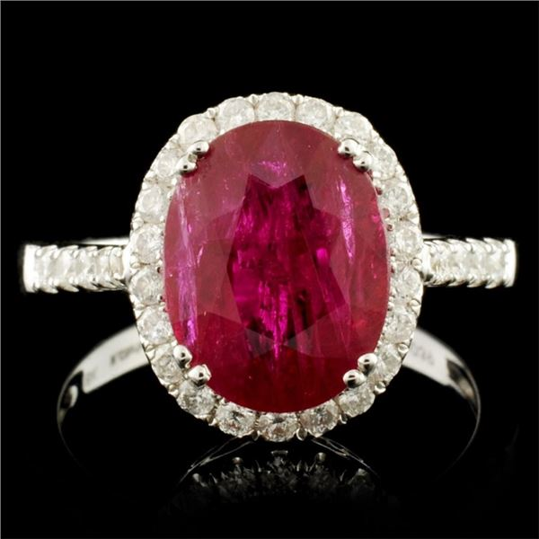 18K Gold 3.86ct Ruby & 0.39ctw Diamond Ring