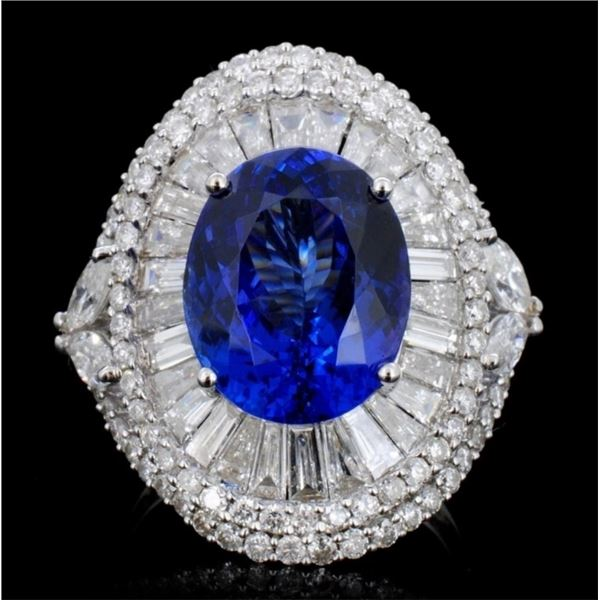 18K Gold 7.26ct Tanzanite & 3.00 Diamond Ring