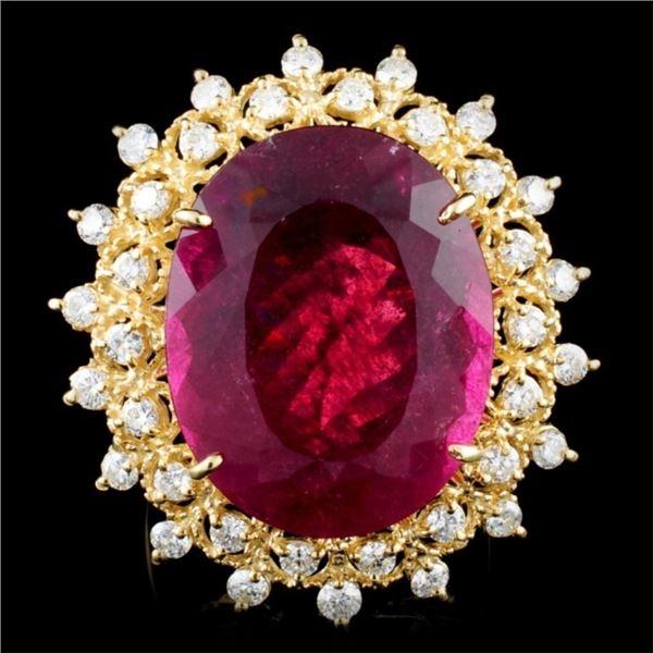 14K Gold 24.36ct Tourmaline & 1.49ctw Diamond Ring