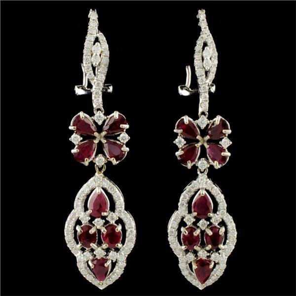 18K Gold 4.15ct Ruby & 1.27ctw Diamond Earrings