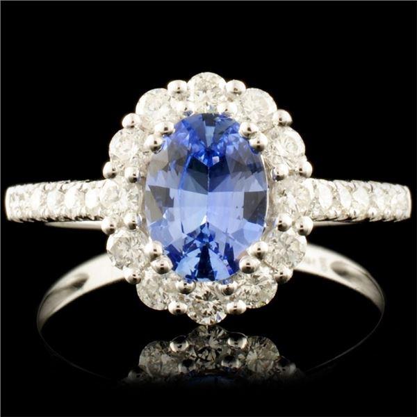 14K Gold 1.32ct Sapphire & 0.59ctw Diamond Ring