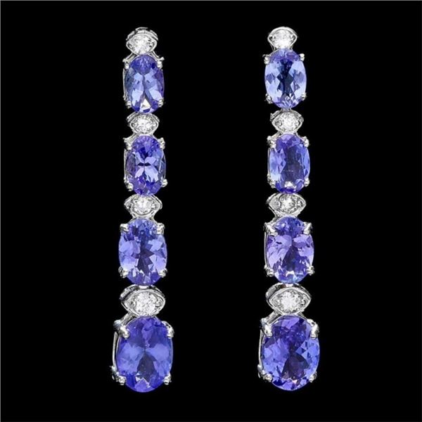 `14k Gold 7.00ct Tanzanite & 0.50ct Diamond Earrin