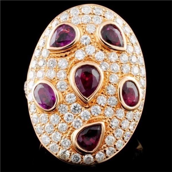 18K Gold 2.47ct Ruby & 2.32ct Diamond Ring