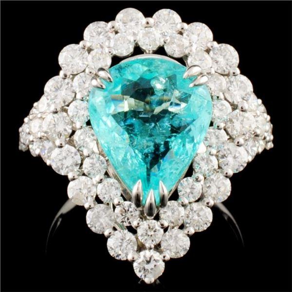 18K Gold 3.16ct Paraiba & 2.25 Diamond Ring