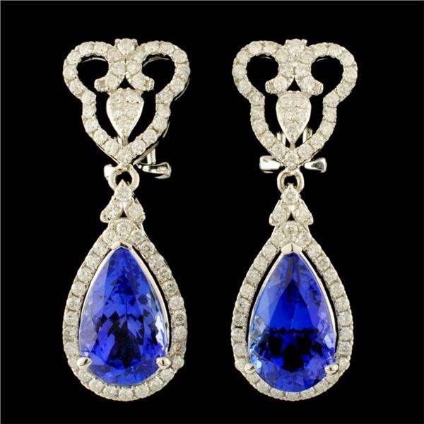 14K Gold 8.65ct Tanzanite & 1.27ctw Diamond Earrin