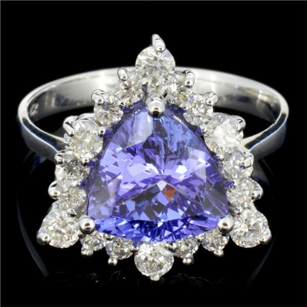 14K Gold 3.50ct Tanzanite & 1.00ctw Diamond Ring