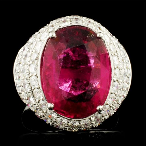 18K Gold 7.93ct Rubellite & 3.15ctw Diamond Ring