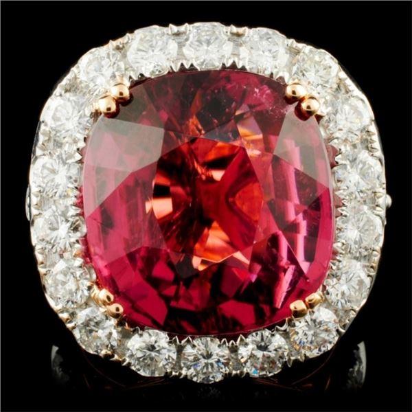 18K Gold 14.62 Tourmaline & 3.21ctw Diamond Ring