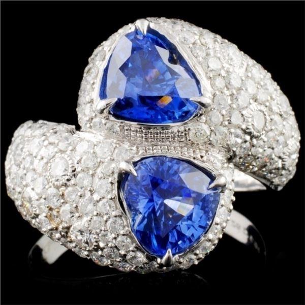 18K White Gold 3.26ct Sapphire & 2.31ctw Diamond R